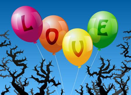 imminence: Cuatro globos, que est�n etiquetados con la palabra AMOR, se ven amenazados por las espinas Vectores
