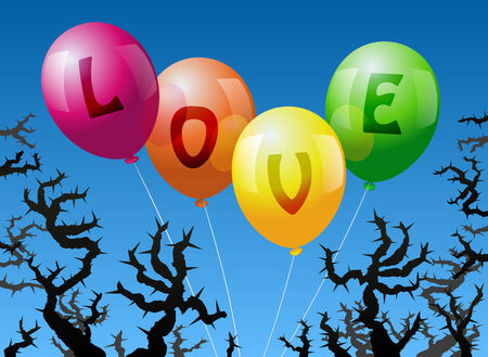 lovestruck: Four balloons, which are labeled with the word LOVE, are threatened by thorns  Illustration