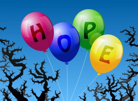 imminence: Cuatro globos, que est�n etiquetados con la palabra HOPE, se ven amenazados por las espinas Vectores