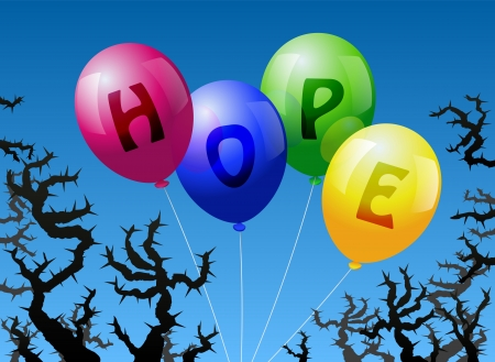 Four balloons, which are labeled with the word HOPE, are threatened by thorns  Illustration