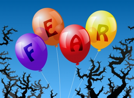 anguish: Four balloons, which are labeled with the word FEAR, are threatened by thorns