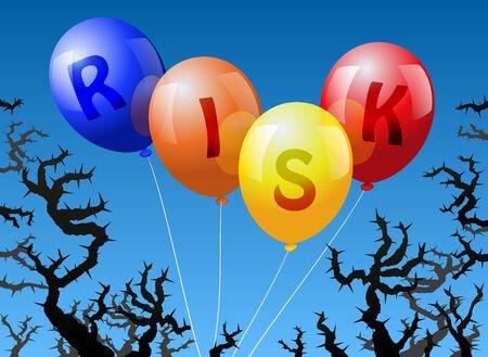 imminence: Cuatro globos, que est�n etiquetados con la palabra PELIGRO, se ven amenazados por las espinas Vectores