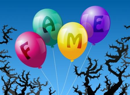 imminence: Cuatro globos, que est�n etiquetados con la palabra FAME, se ven amenazados por las espinas