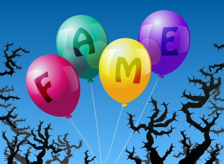 airs: Four balloons, which are labeled with the word FAME, are threatened by thorns
