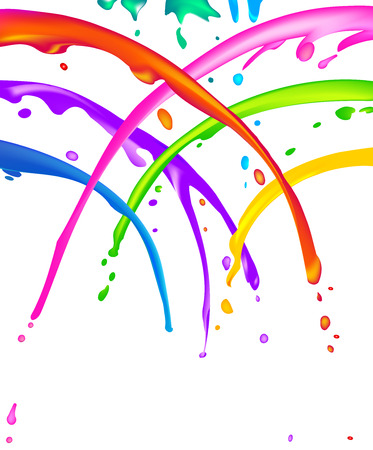 ink drop: Lots of colorful liquid paint splatter - seems like a cheerful shower