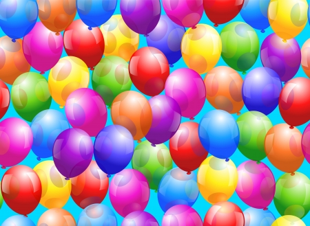 fasching: Colorful glossy balloons - Seamless wallpaper can be created  Illustration