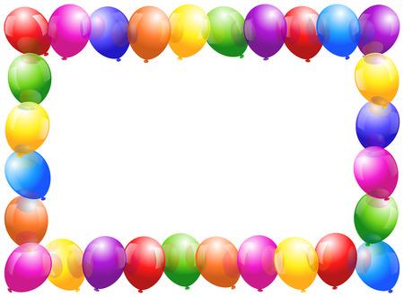 kutlamalar: Bir çerçeve oluşturacak parlak renkli balonlar Çizim