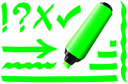 make a call: Green fluorescent marker - plus some fluorescing signs like call sign, question mark, tick mark, arrow and underlining