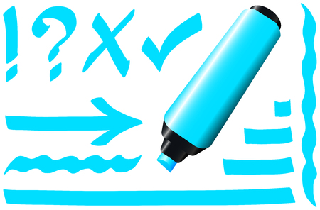 make a call: Blue fluorescent marker - plus some fluorescing signs like call sign, question mark, tick mark, arrow and underlining