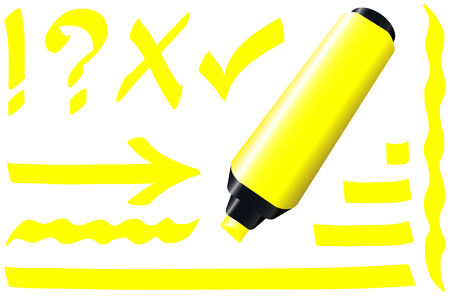 tally: Yellow fluorescent marker - plus some fluorescing signs like call sign, question mark, tick mark, arrow and underlining