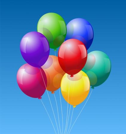A bunch of eight colorful realistic looking balloons - on blue sky background  Illustration