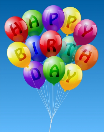 A bunch of colorful realistic looking balloons, lettering  Happy Birthday  - vector on blue sky background  Illustration