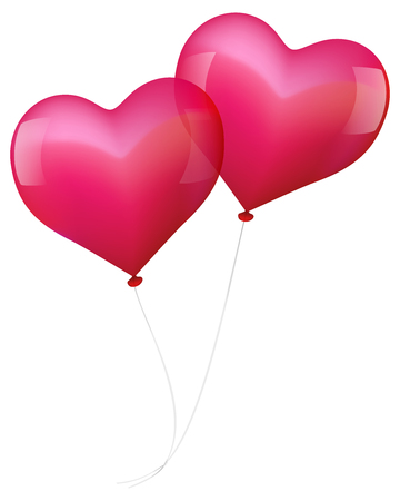 lovestruck: Illustration of two realistic looking pink balloons, which seem to fall in love