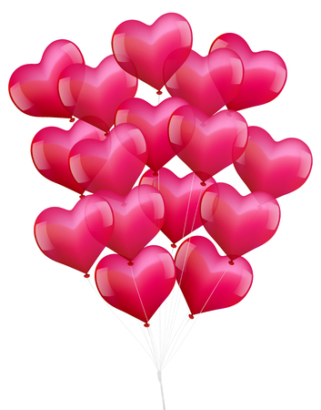 lovestruck: Illustration of a bunch of realistic looking heart shaped pink balloons  Illustration