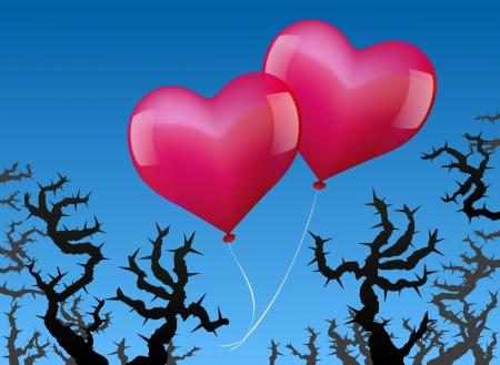 imminence: Dos globos en forma de corazón de color rosa se ven amenazados por las espinas