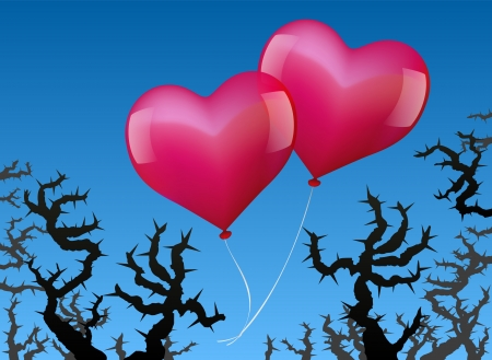 threatened: Two heart shaped pink balloons are threatened by thorns