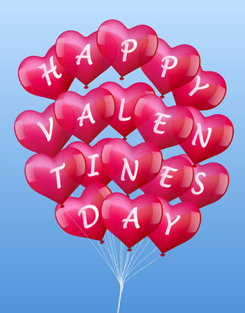 lovestruck: A bunch of colorful realistic looking balloons, lettering  Happy Valentine�s Day  - vector on blue sky background  Illustration