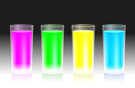 shrill: Four glasses with fluorescent neon drinks that glow in the dark - pink, green, yellow and blue  Illustration