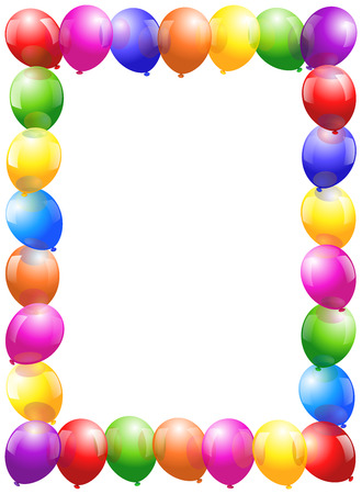 Colorful glossy balloons that form a frame - vertical portrait format  Vector