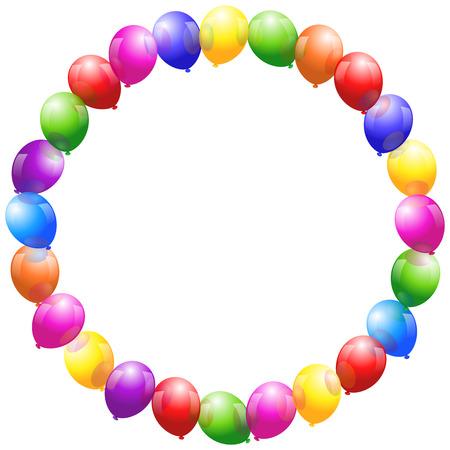Bunte glänzend Ballons, die einen kreisförmigen Rahmen bilden