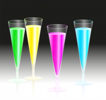 Four glasses with fluorescent neon brisk champagne glowing in the dark
