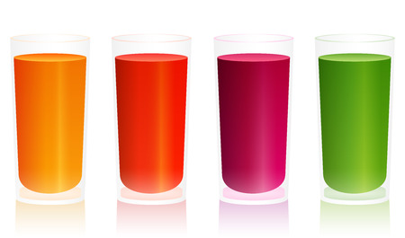 beet root: Four glasses with different vegetable drinks like carrot juice, tomato juice, beet juice or green smoothie
