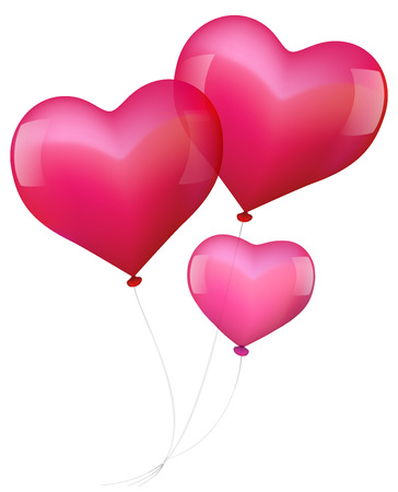 Illustration of three realistic looking heart shaped balloons - parents in love with baby  Vector