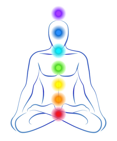 Illustration of a meditating person in yoga position with the seven main chakras  Illustration