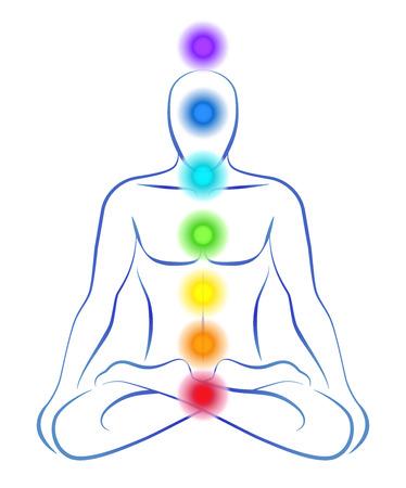 tranquility: Ilustraci�n de una persona meditando en posici�n de yoga con los siete chakras principales