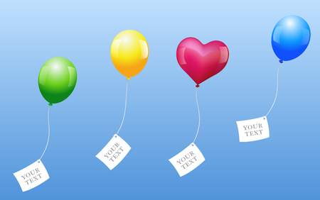 Four balloons with blank letters are sent out for wishes come true  Vector