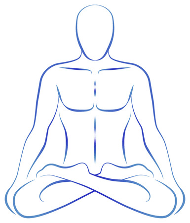 tantra: Illustration of a meditating person in yoga position