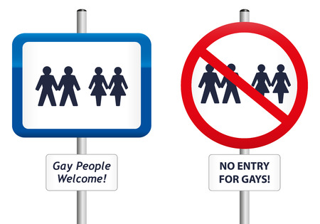 Two signs, the first one welcomes gay people, the second homophobic sign says  No entry  Vector