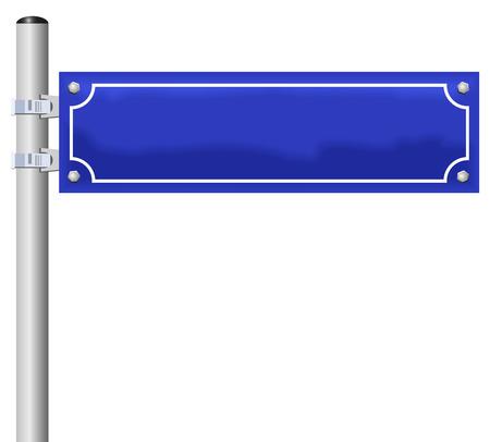 rejas de hierro: Placa de la calle en blanco, fijado en un poste - el nombre de la calle individuo puede ser etiquetado Vectores