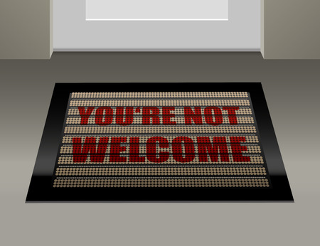 banish: Doormat that says, that you are not welcome