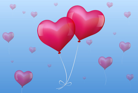 Illustration of two realistic looking pink balloons, which are bound together and seem to fall in love  Ilustração