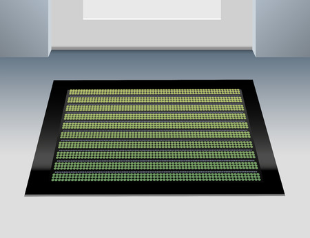 Illustration of a green doormat in front of a closed door