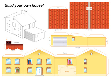 home owner: Paper model of a yellow house with garage - easy to make - print it on heavy paper, cut the pieces out, score and fold them and glue them together as depicted