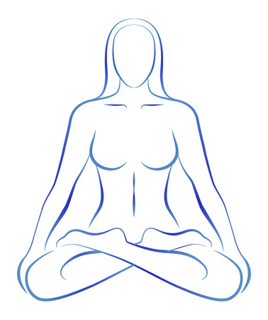 holistic health: Illustration of a meditating woman in yoga position