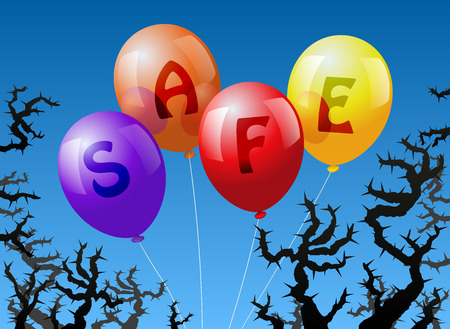 threatened: Four balloons, which are labeled with the word SAFE, are threatened by thorns  Illustration