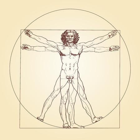 Illustration des Vitruvian Man, basierend auf den Aufzeichnungen von Leonardo da Vinci und dem Architekten Vitruvius