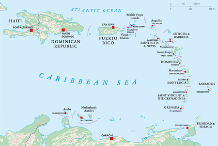 Political map of Lesser Antilles, Haiti and Dominican Republic with the capitals, national borders, rivers and lakes  Vector illustration with english labeling and scale