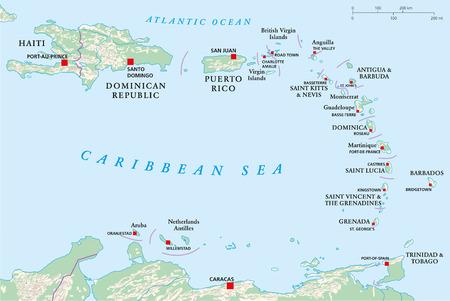 Politieke kaart van Kleine Antillen, Haïti en de Dominicaanse Republiek met de hoofdsteden, nationale grenzen, rivieren en meren Vector illustratie met engels etikettering en schaal Stock Illustratie