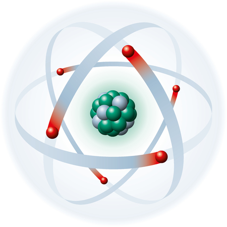 Illustration of an atom with blue electron shell, red electrons, green protons and gray neutrons on white background  The electrons produce the atomic shell  Neutrons and protons produce the atomic nucleus