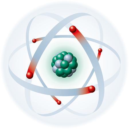 neutrons: Ilustraci�n de un �tomo con la c�scara azul de electrones, los electrones rojo, verde y protones neutrones gris sobre fondo blanco Los electrones producen los neutrones y los protones de concha at�micas producen el n�cleo at�mico Vectores