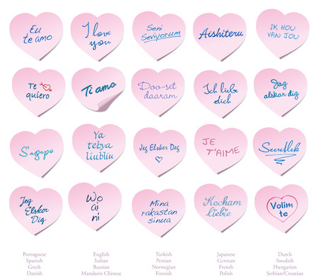 deg: Twenty heart shaped Post-its with the phrase I LOVE YOU in twenty different languages