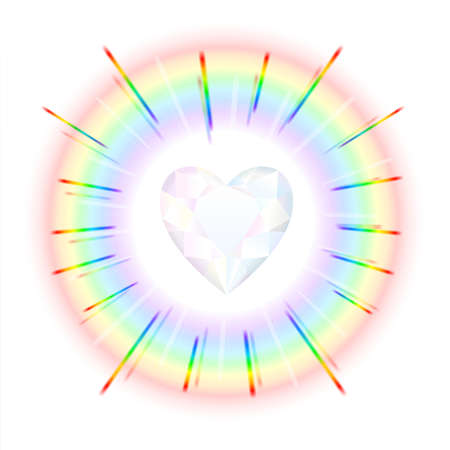 Finely polished crystal in the shape of a heart with rainbow colored beams  photo