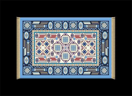 far east: Illustration of a blue carpet  Isolated vector on black background  Illustration