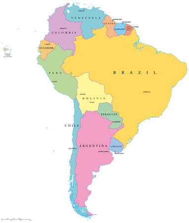 south america map: South America Single States Illustration