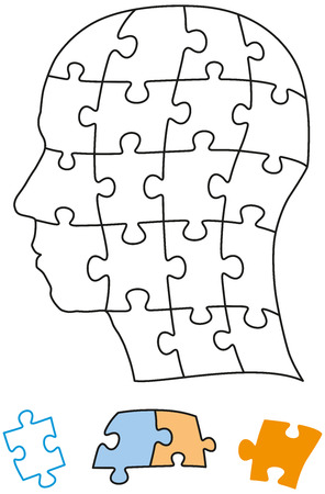 Head puzzle with single pieces which can be individually removed and arranged Vector illustration on white background
