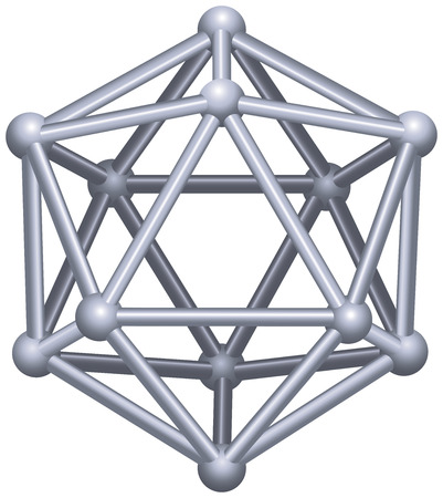 Ein Ikosaeder Platonische Körper in der Geometrie, ein Polyeder mit zwanzig dreieckigen Flächen, Kanten und dreißig zwölf Eckpunkte 3D-Vektor-Struktur isoliert auf weißem Hintergrund